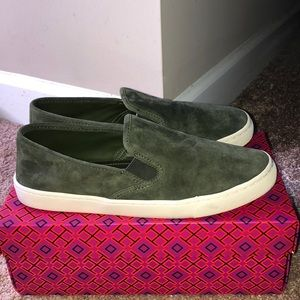 Tory Burch Green Suede Sneaker